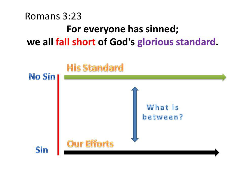Romans 3:23 For everyone has sinned; we all fall short of God s glorious standard.