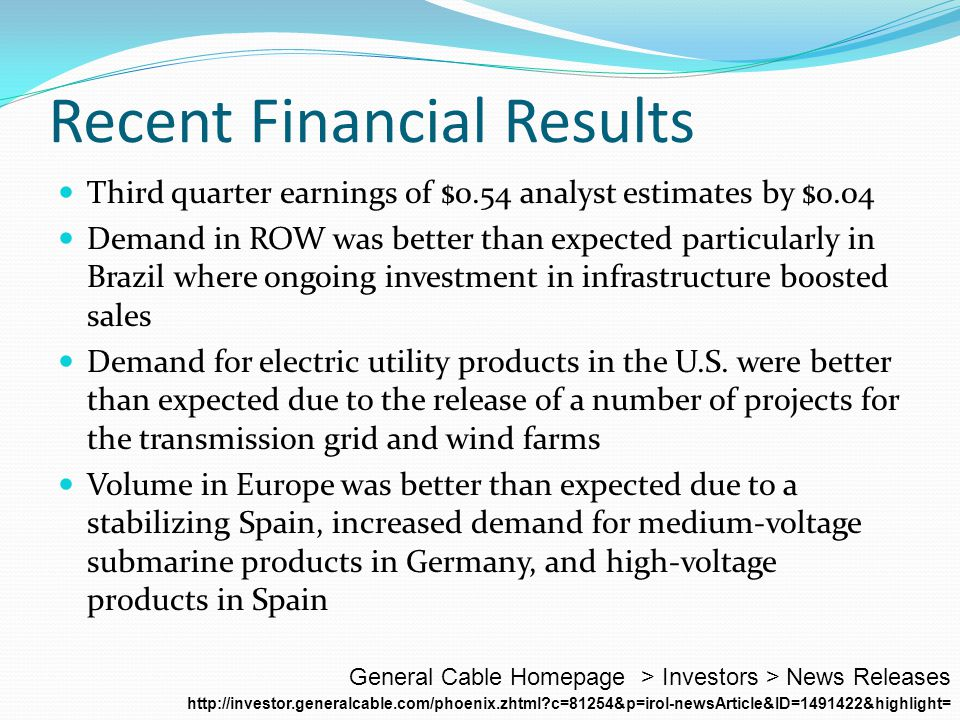 Recent Financial Results Third quarter earnings of $0.54 analyst estimates by $0.04 Demand in ROW was better than expected particularly in Brazil where ongoing investment in infrastructure boosted sales Demand for electric utility products in the U.S.
