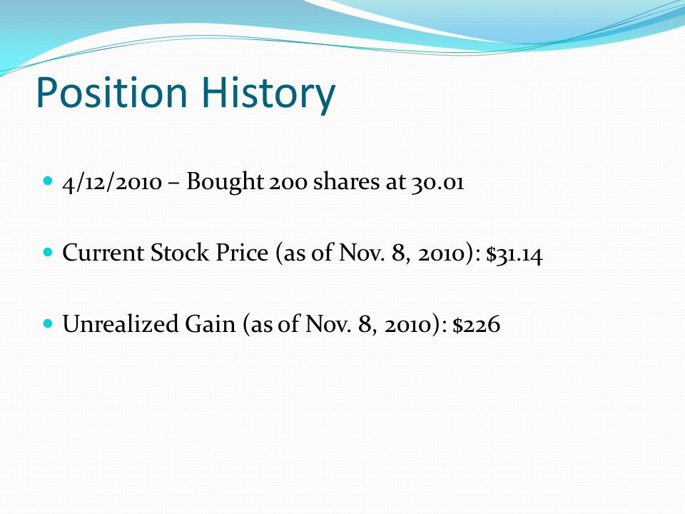 Position History 4/12/2010 – Bought 200 shares at 30.01 Current Stock Price (as of Nov.