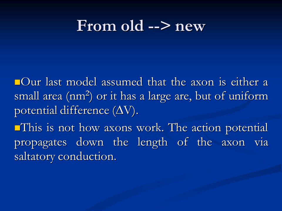 From old --> new Our last model assumed that the axon is either a small area (nm 2 ) or it has a large are, but of uniform potential difference ( V).