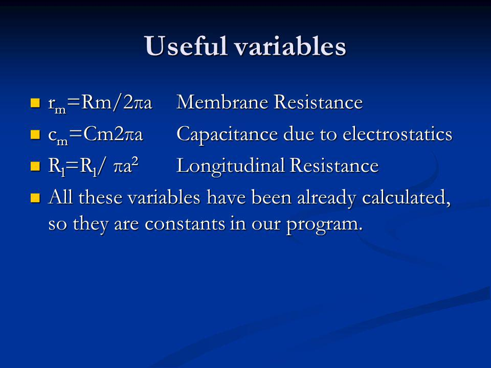 Useful variables r m =Rm/2πaMembrane Resistance r m =Rm/2πaMembrane Resistance c m =Cm2πaCapacitance due to electrostatics c m =Cm2πaCapacitance due to electrostatics R l =R l / πa 2 Longitudinal Resistance R l =R l / πa 2 Longitudinal Resistance All these variables have been already calculated, so they are constants in our program.