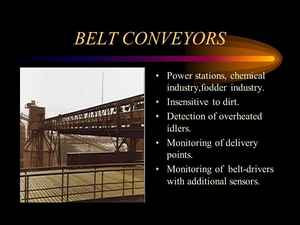 BELT CONVEYORS Power stations, chemical industry,fodder industry.