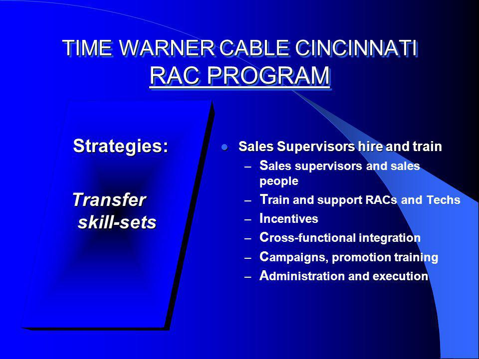 TIME WARNER CABLE CINCINNATI RAC PROGRAM Strategies: Strategies: Transfer skill-sets Sales Supervisors hire and train Sales Supervisors hire and train – S ales supervisors and sales people – T rain and support RACs and Techs – I ncentives – C ross-functional integration – C ampaigns, promotion training – A dministration and execution