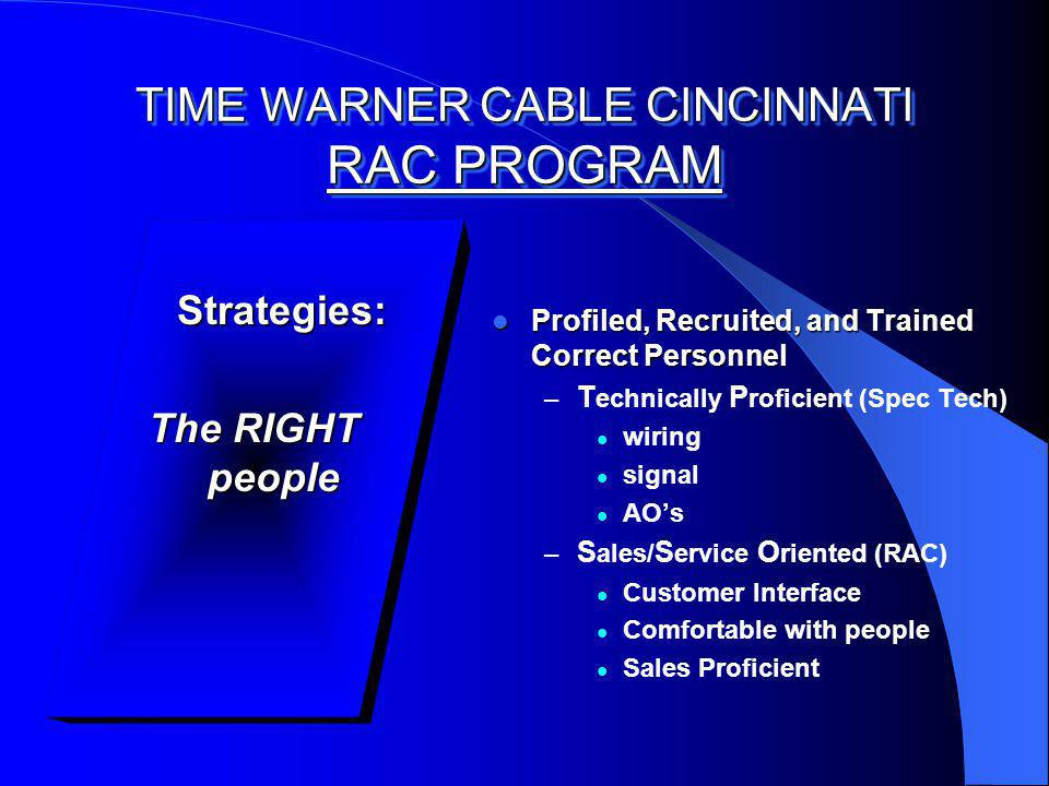 TIME WARNER CABLE CINCINNATI RAC PROGRAM Strategies: Strategies: The RIGHT people Profiled, Recruited, and Trained Correct Personnel Profiled, Recruited, and Trained Correct Personnel – T echnically P roficient (Spec Tech) wiring signal AOs – S ales/ S ervice O riented (RAC) Customer Interface Comfortable with people Sales Proficient