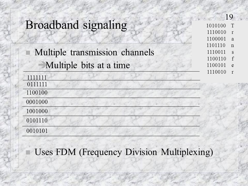 19 Broadband signaling n Multiple transmission channels èMultiple bits at a time 1010100T 1110010r 1100001a 1101110n 1110011s 1100110f 1100101e 1110010r 1111111 n Uses FDM (Frequency Division Multiplexing) 0111111 1100100 0001000 1001000 0101110 0010101