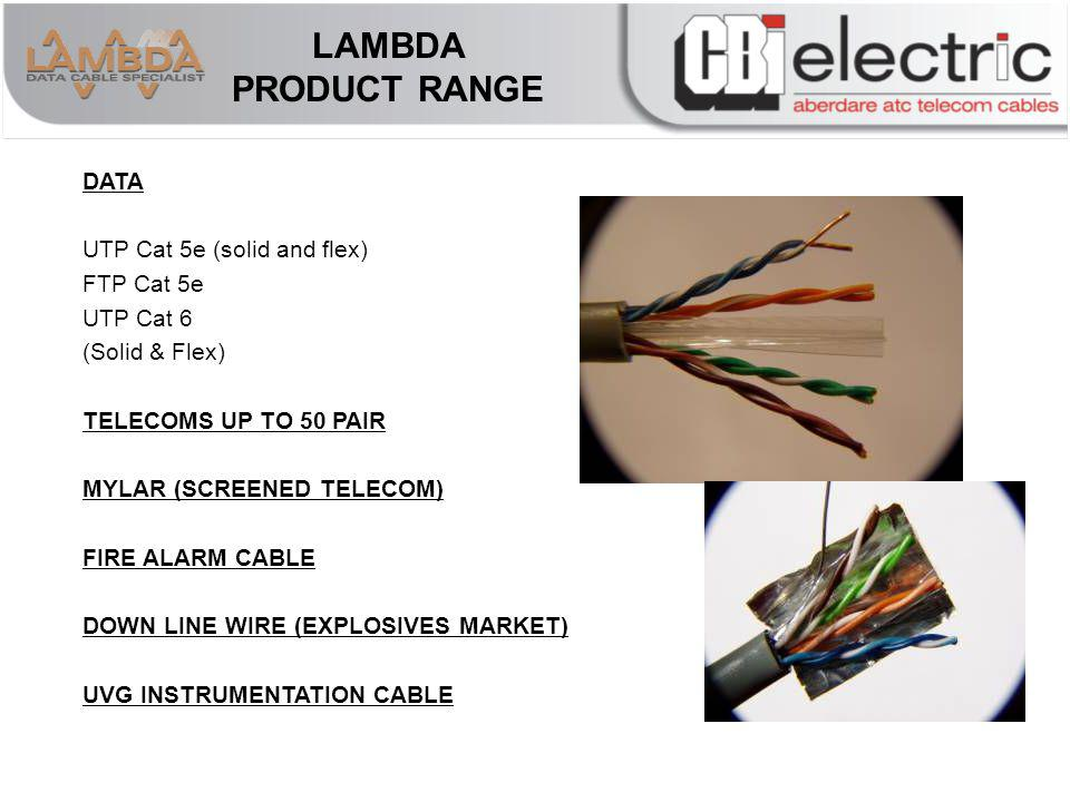 LAMBDA PRODUCT RANGE DATA UTP Cat 5e (solid and flex) FTP Cat 5e UTP Cat 6 (Solid & Flex) TELECOMS UP TO 50 PAIR MYLAR (SCREENED TELECOM) FIRE ALARM CABLE DOWN LINE WIRE (EXPLOSIVES MARKET) UVG INSTRUMENTATION CABLE