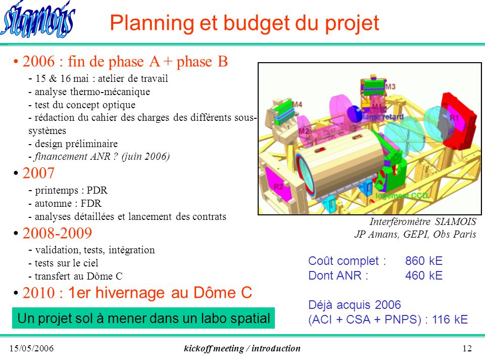 15/05/2006kickoff meeting / introduction12 Planning et budget du projet 2006 : fin de phase A + phase B - 15 & 16 mai : atelier de travail - analyse thermo-mécanique - test du concept optique - rédaction du cahier des charges des différents sous- systèmes - design préliminaire - financement ANR .