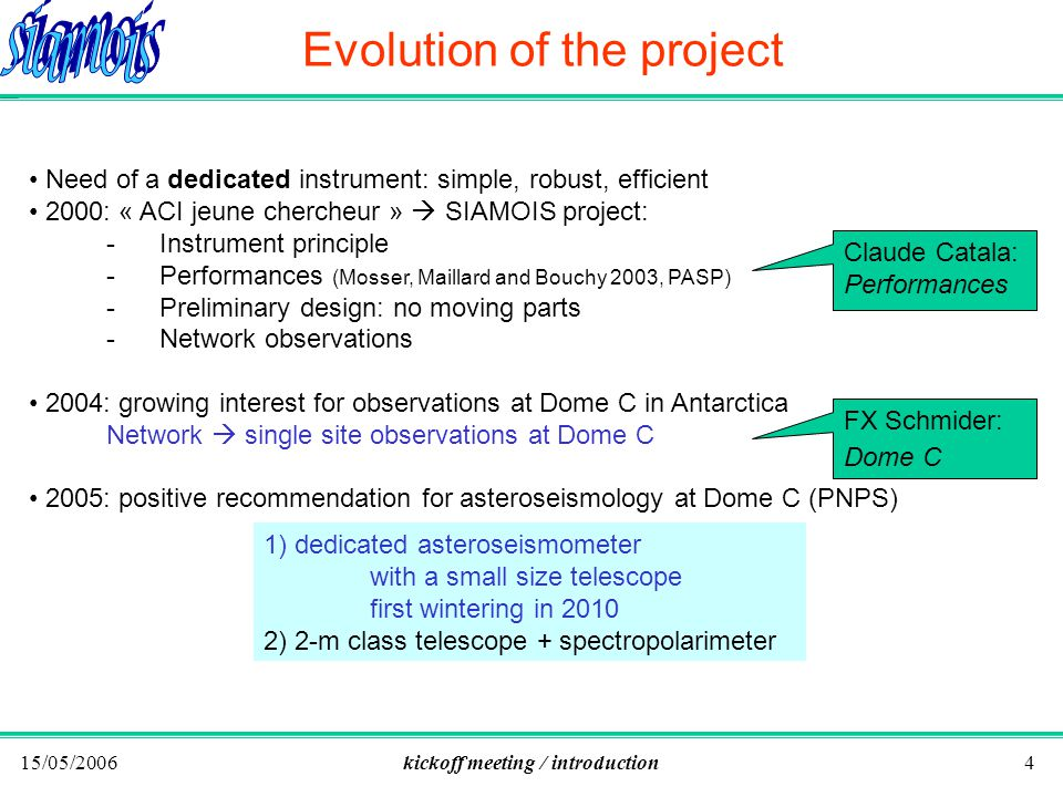 15/05/2006kickoff meeting / introduction4 Evolution of the project Need of a dedicated instrument: simple, robust, efficient 2000: « ACI jeune chercheur » SIAMOIS project: -Instrument principle -Performances (Mosser, Maillard and Bouchy 2003, PASP) -Preliminary design: no moving parts -Network observations 2004: growing interest for observations at Dome C in Antarctica Network single site observations at Dome C 2005: positive recommendation for asteroseismology at Dome C (PNPS) 1) dedicated asteroseismometer with a small size telescope first wintering in 2010 2) 2-m class telescope + spectropolarimeter Claude Catala: Performances FX Schmider: Dome C