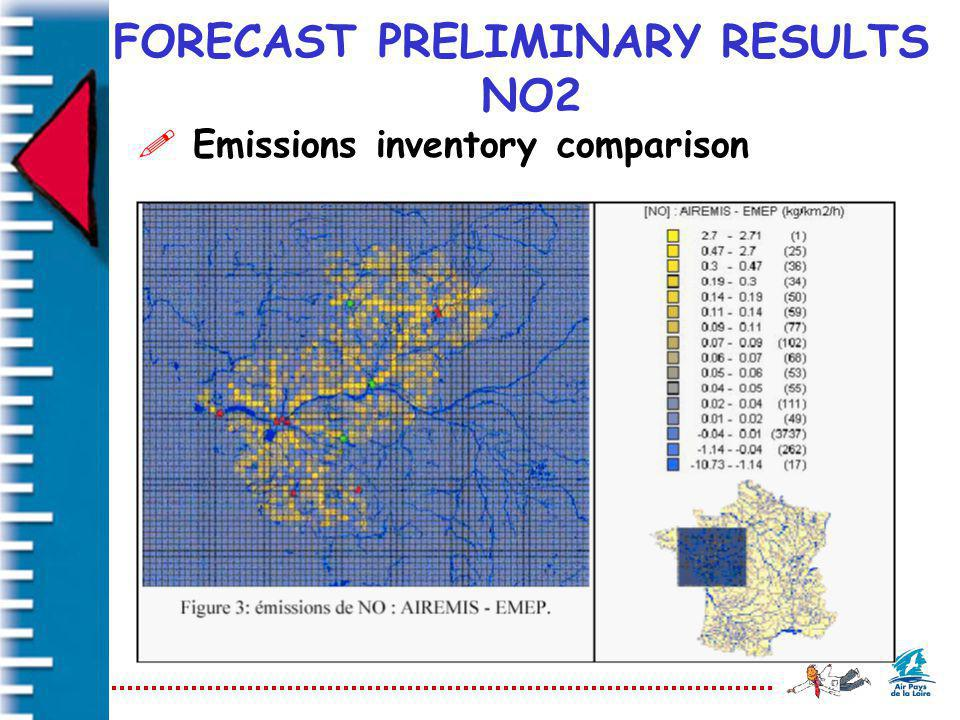 FORECAST PRELIMINARY RESULTS NO2 ! Emissions inventory comparison