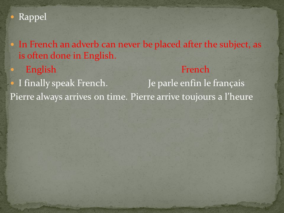 Rappel In French an adverb can never be placed after the subject, as is often done in English.