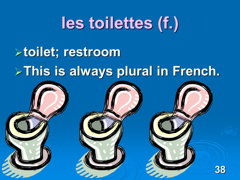 38 les toilettes (f.) toilet; restroom toilet; restroom This is always plural in French.