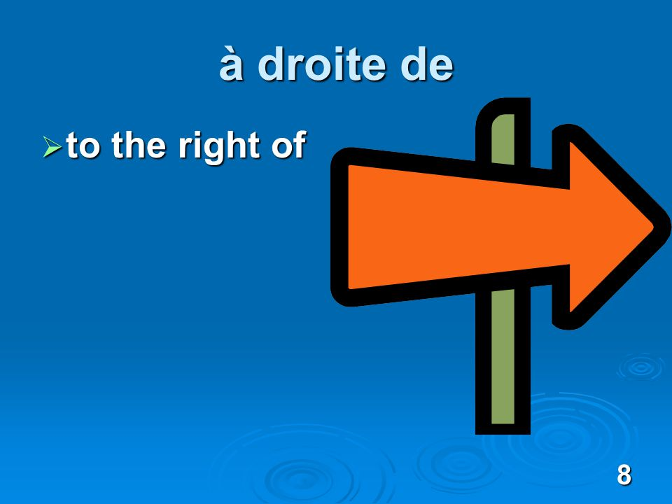 8 à droite de to the right of to the right of
