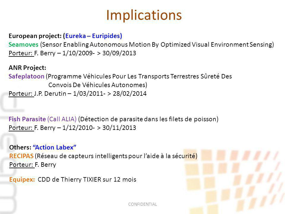 Implications European project: (Eureka – Euripides) Seamoves (Sensor Enabling Autonomous Motion By Optimized Visual Environment Sensing) Porteur: F.