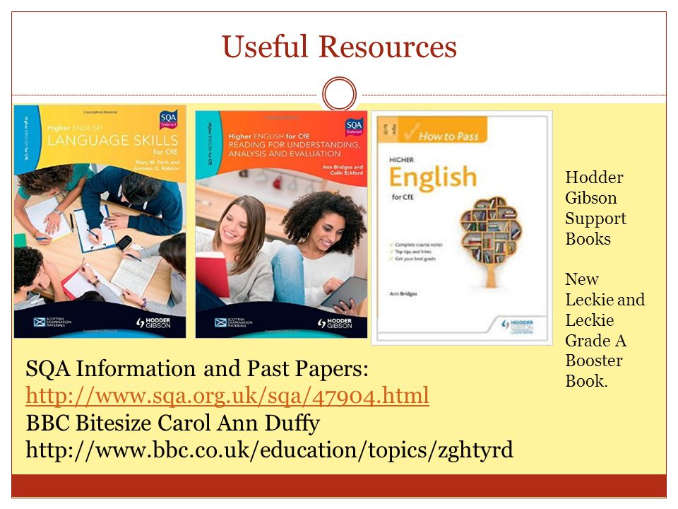 Useful Resources SQA Information and Past Papers:     BBC Bitesize Carol Ann Duffy   Hodder Gibson Support Books New Leckie and Leckie Grade A Booster Book.