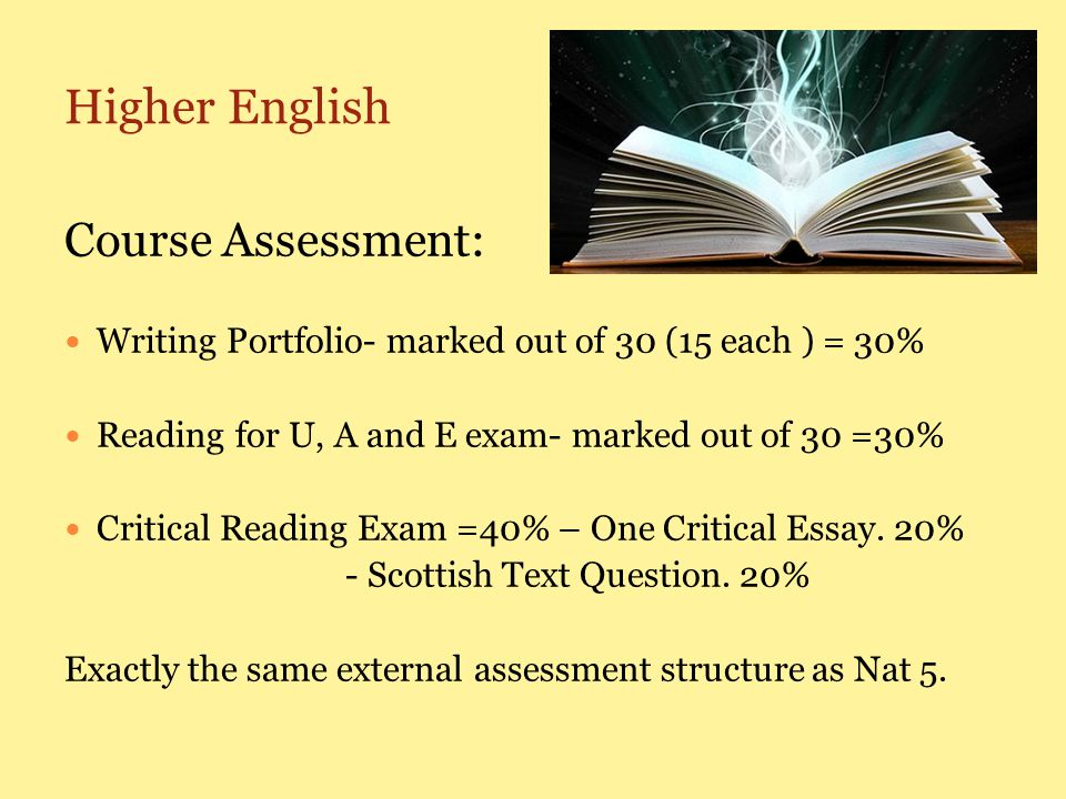 Higher English Course Assessment: Writing Portfolio- marked out of 30 (15 each ) = 30% Reading for U, A and E exam- marked out of 30 =30% Critical Reading Exam =40% – One Critical Essay.