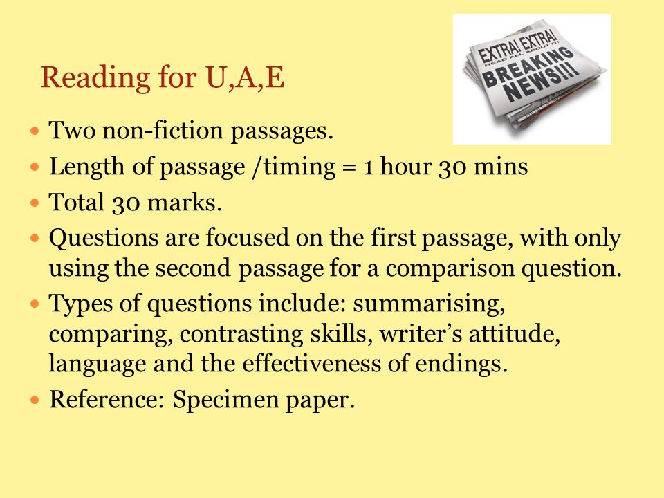 Reading for U,A,E Two non-fiction passages.