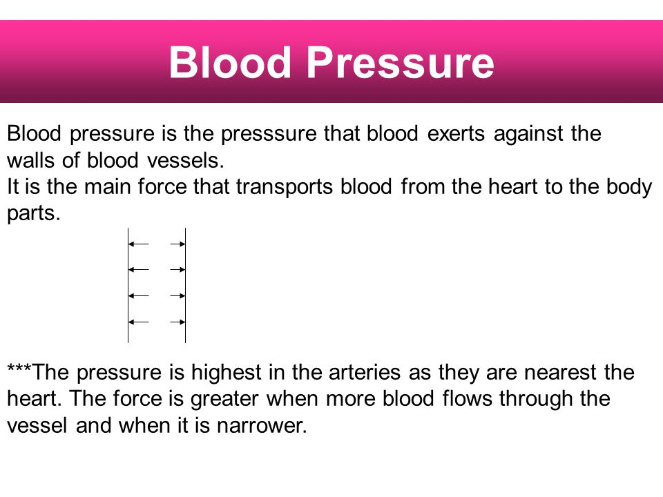 Blood Pressure Blood pressure is the presssure that blood exerts against the walls of blood vessels.