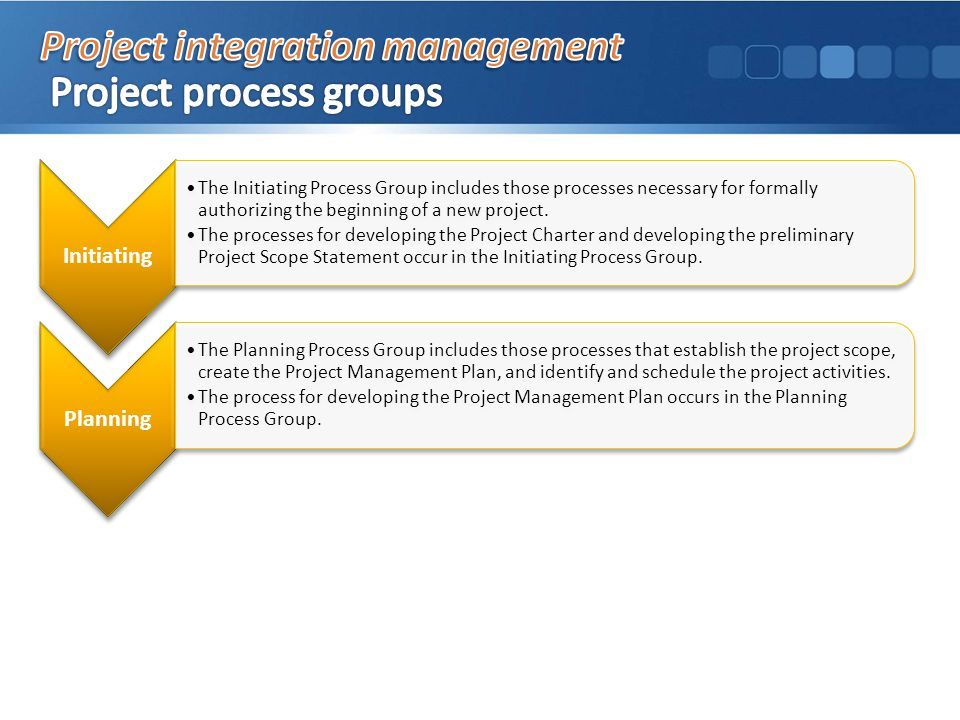 Initiating The Initiating Process Group includes those processes necessary for formally authorizing the beginning of a new project.