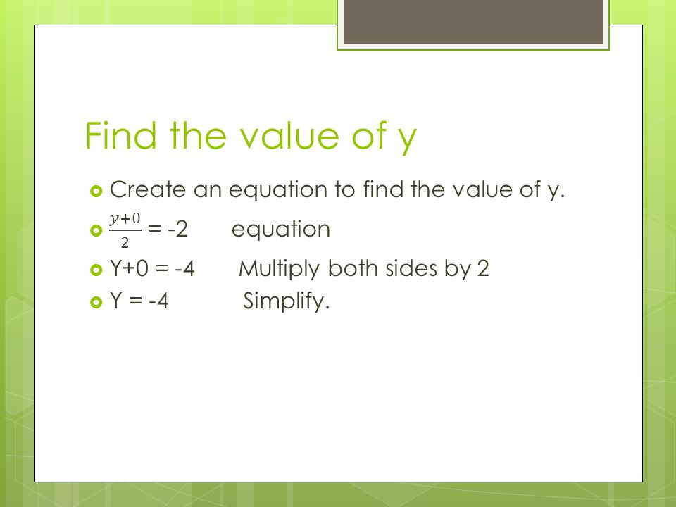 Find the value of y