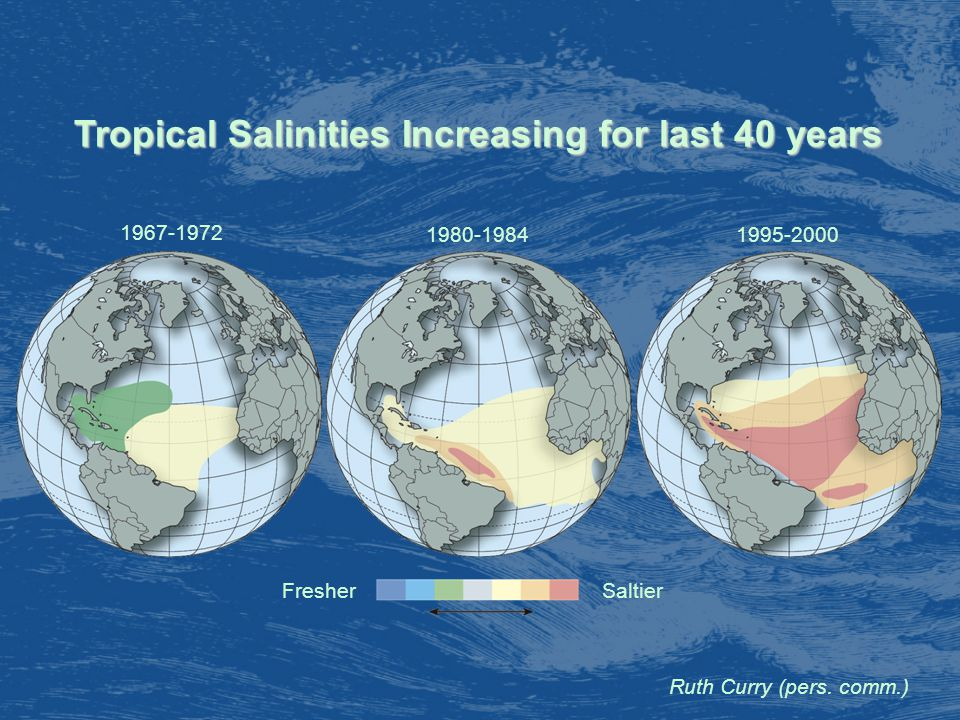 Tropical Salinities Increasing for last 40 years FresherSaltier Ruth Curry (pers.