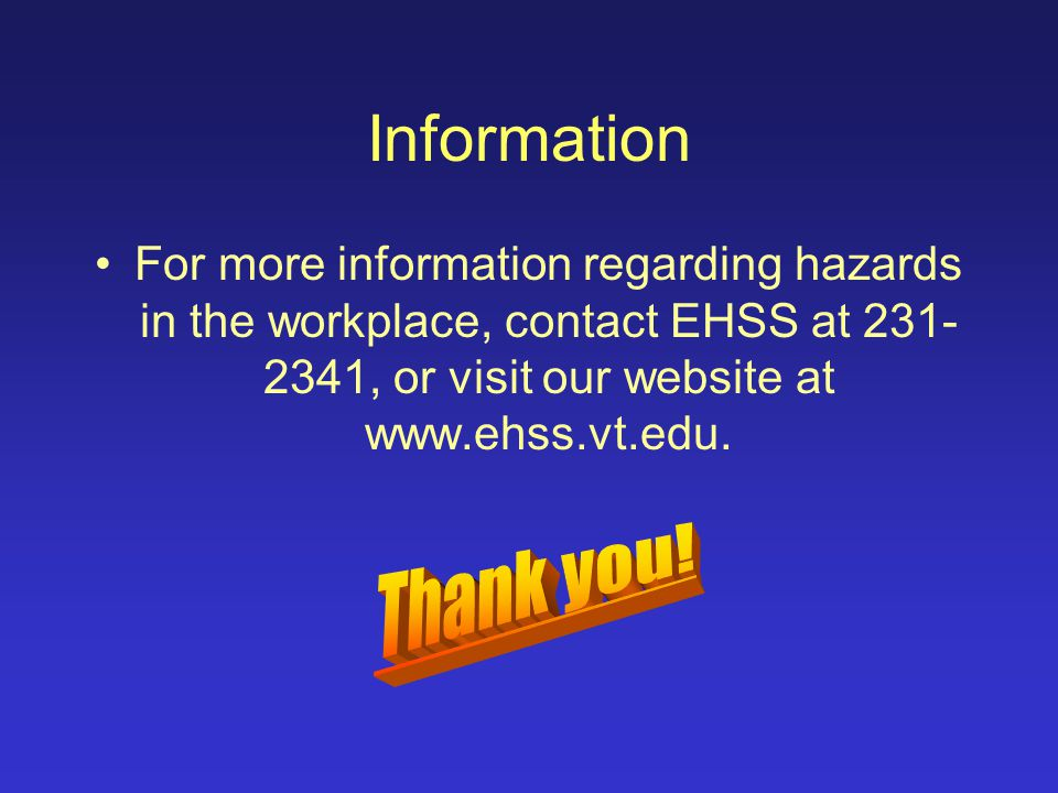 Summary Identify hazards in the workplace that could result in injury or illness.