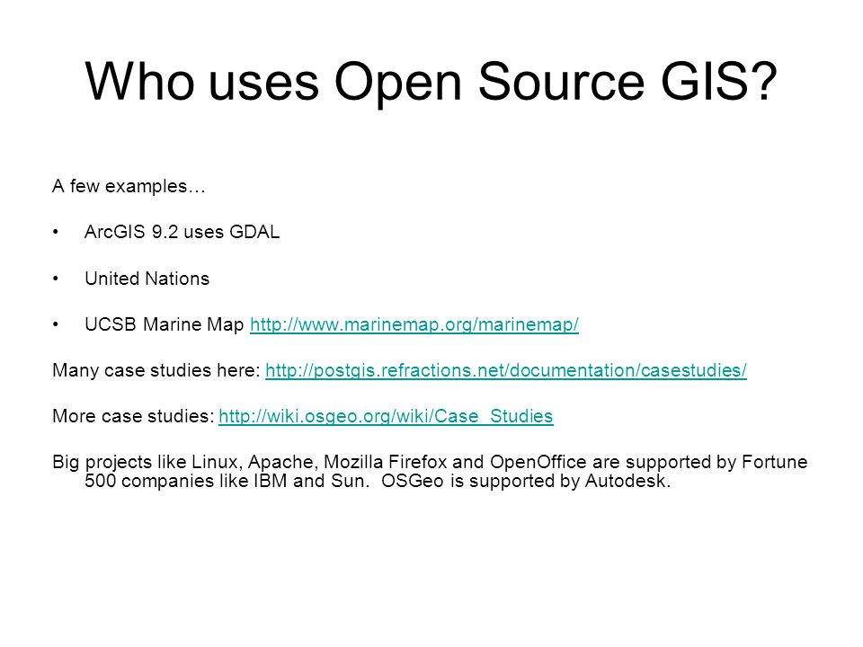 Free GIS an intro to open-source spatial software  - ppt