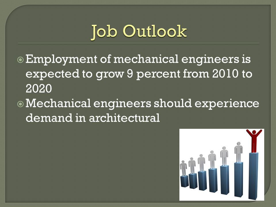  Employment of mechanical engineers is expected to grow 9 percent from 2010 to 2020  Mechanical engineers should experience demand in architectural