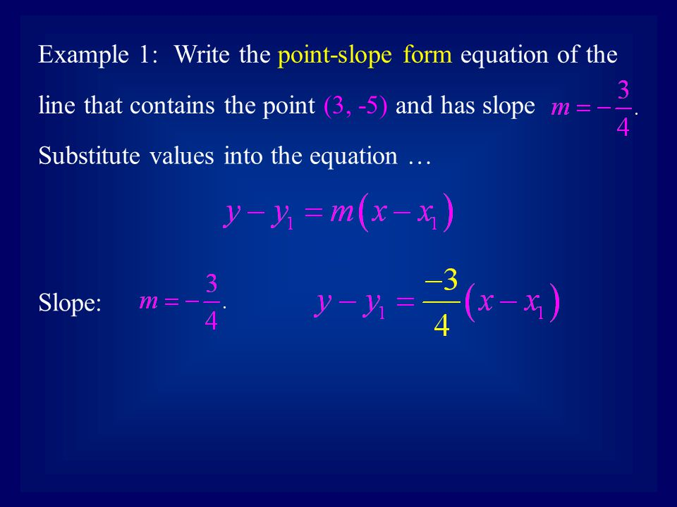 point slope form vertical line  The point-slope form of a linear equation of a non- vertical ...