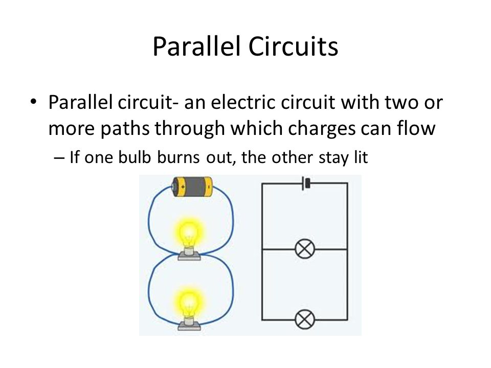 Parallel Circuits Parallel circuit- an electric circuit with two or more paths through which charges can flow – If one bulb burns out, the other stay lit