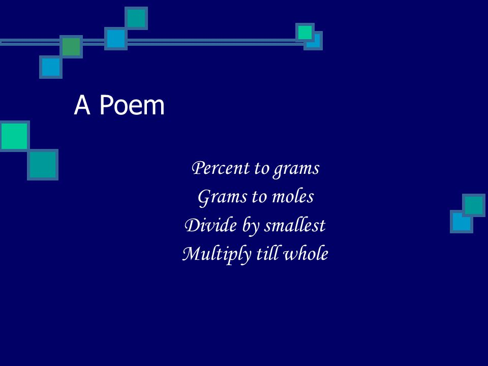 A Poem Percent to grams Grams to moles Divide by smallest Multiply till whole