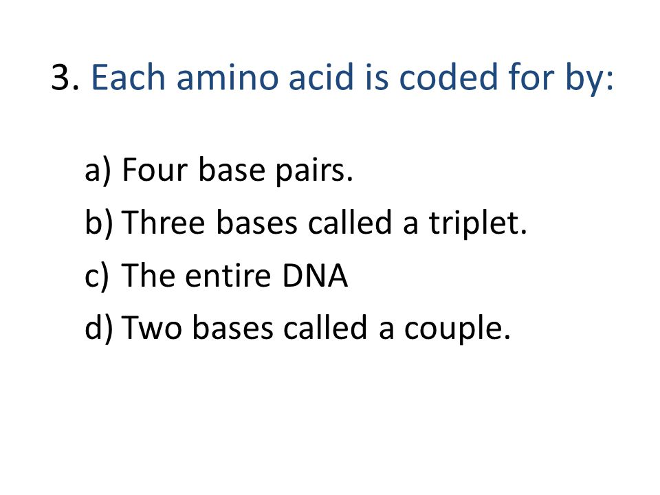 3. Each amino acid is coded for by: a)Four base pairs.