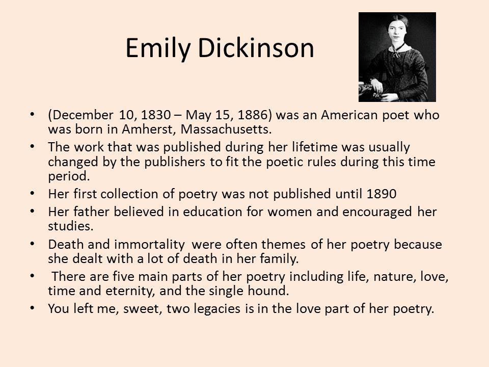 dickinsons message through her poetry Even the small amount of poets failed to express their true emotions through poetry emily dickinson was unlike the others in how she wrote she not only wrote about the problems in society but also her beliefs on love, family, death, and nature (mcnaughton 52.
