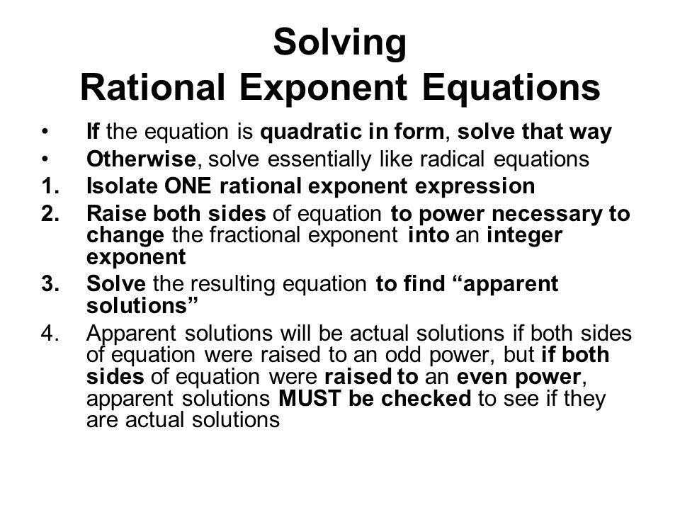 Rational Exponent Equations Worksheet - Checks Worksheet