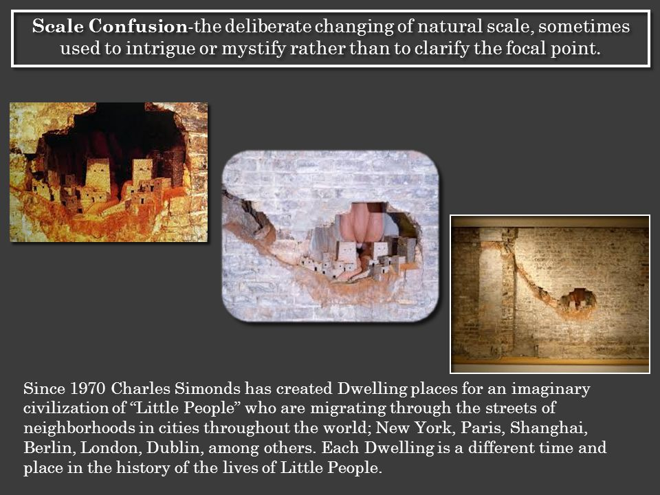 Since 1970 Charles Simonds has created Dwelling places for an imaginary civilization of Little People who are migrating through the streets of neighborhoods in cities throughout the world; New York, Paris, Shanghai, Berlin, London, Dublin, among others.