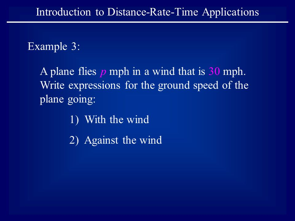 A plane flies p mph in a wind that is 30 mph.