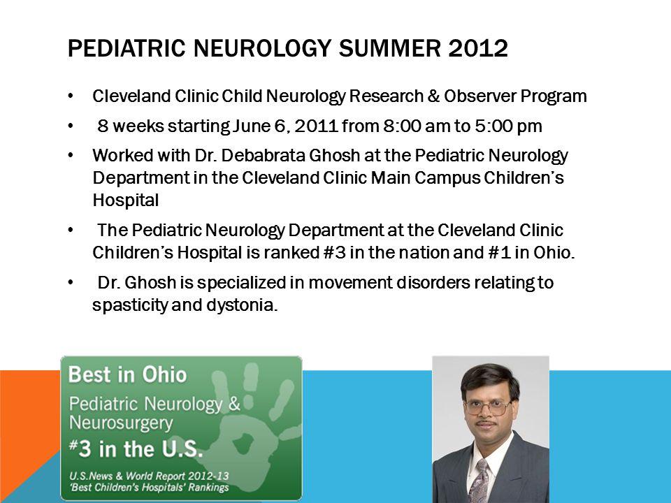 PEDIATRIC NEUROLOGY OBSERVERSHIP AND RESEARCH PROGRAM Mahima