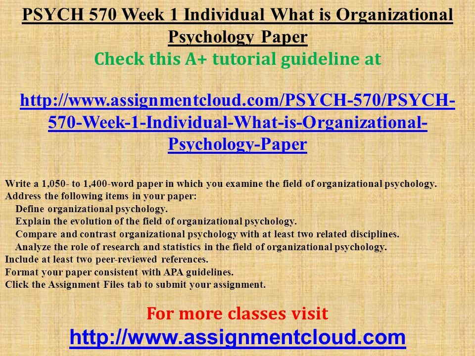 what is organizational psychology paper
