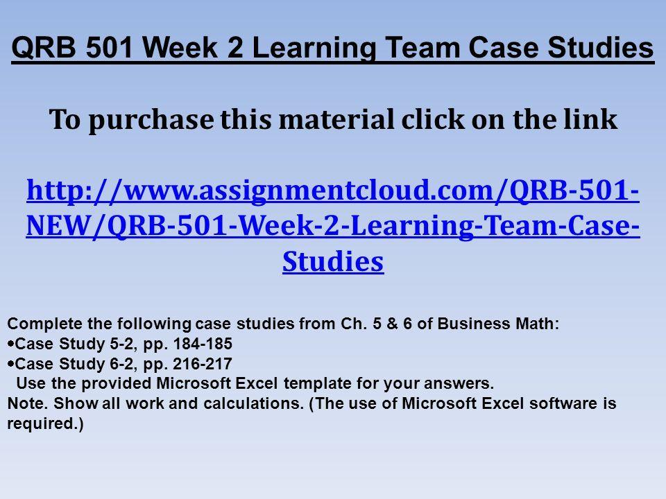 qrb 501 case study 6-2