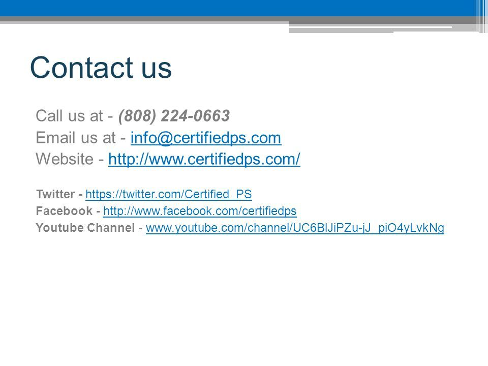 Contact us Call us at - (808) us at - Website -   Twitter -   Facebook -   Youtube Channel -