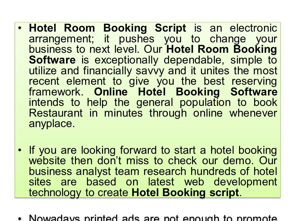 Hotel Room Booking Script - Hotel Room Booking software