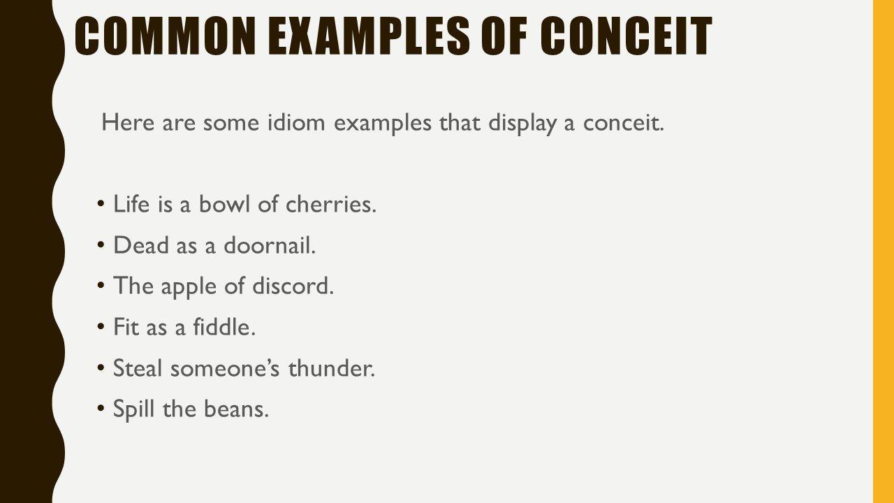 conceit examples sentences