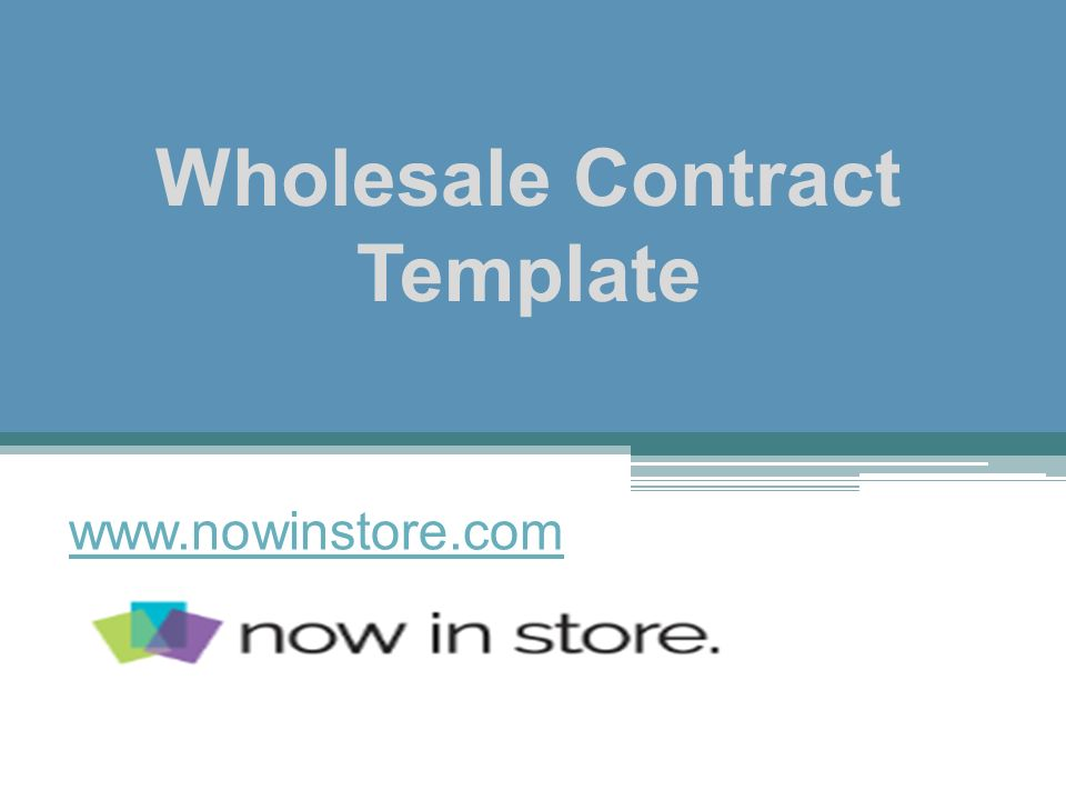 Wholesale Contract Template