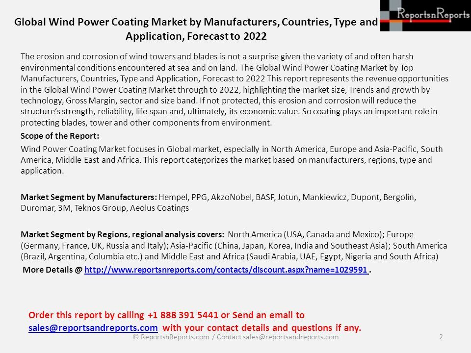 Global Wind Power Coating Market by Manufacturers, Countries, Type