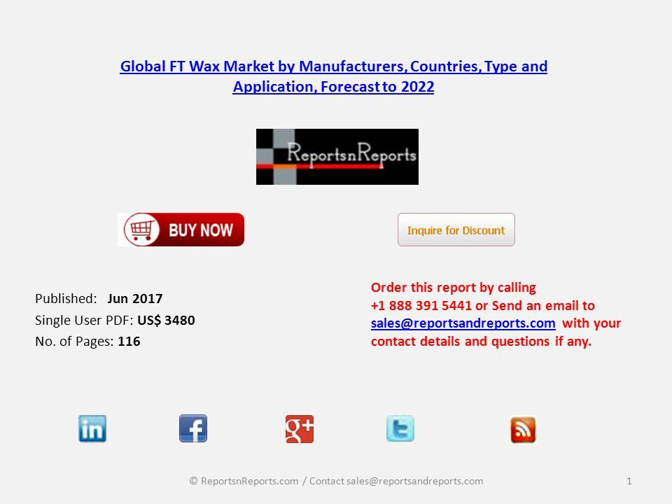 Global FT Wax Market by Manufacturers, Countries, Type and