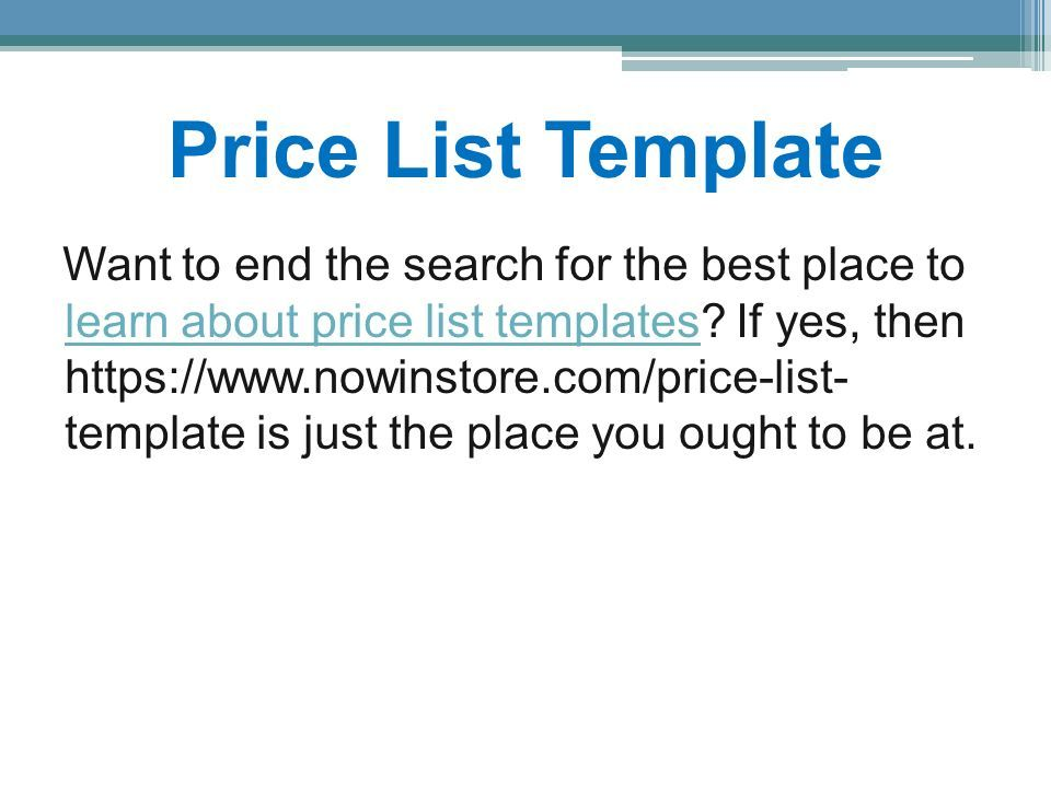 Price List Template Want to end the search for the best place to learn about price list templates.