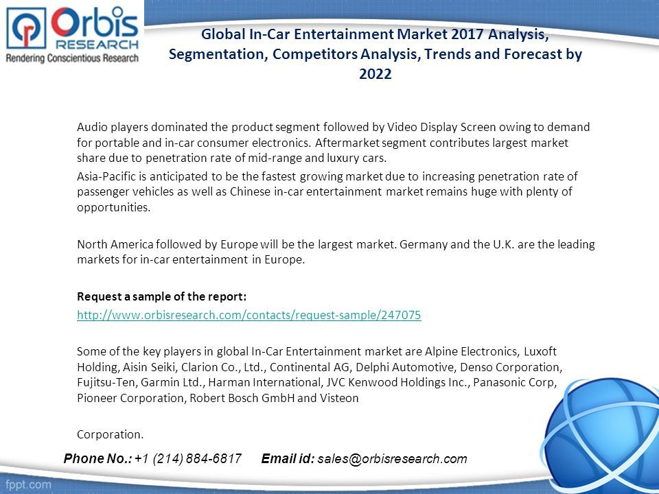 Global In Car Entertainment Market 2017 Analysis Segmentation