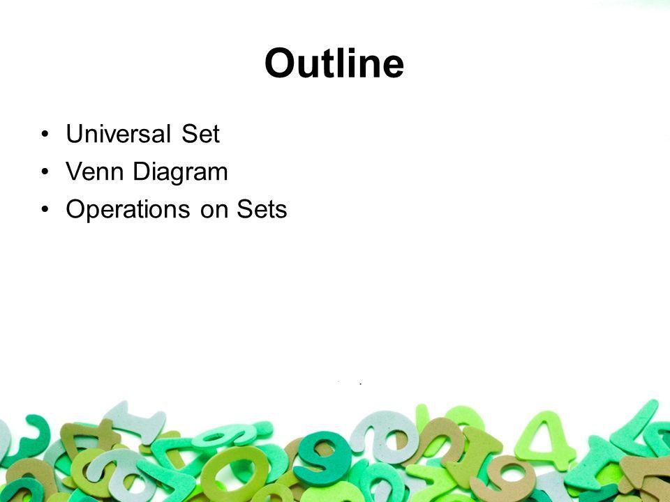 Set Outline Universal Set Venn Diagram Operations On Sets Ppt