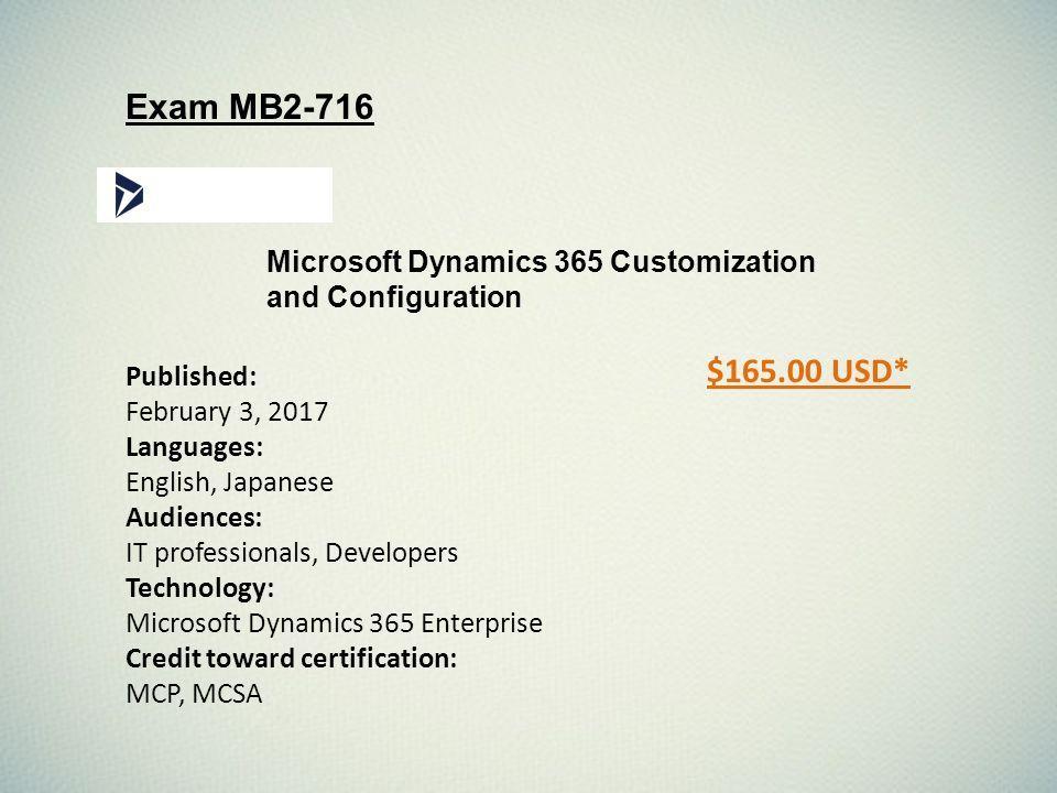 Mb2 716 Microsoft Dynamics 365 Customization And Configuration Exam