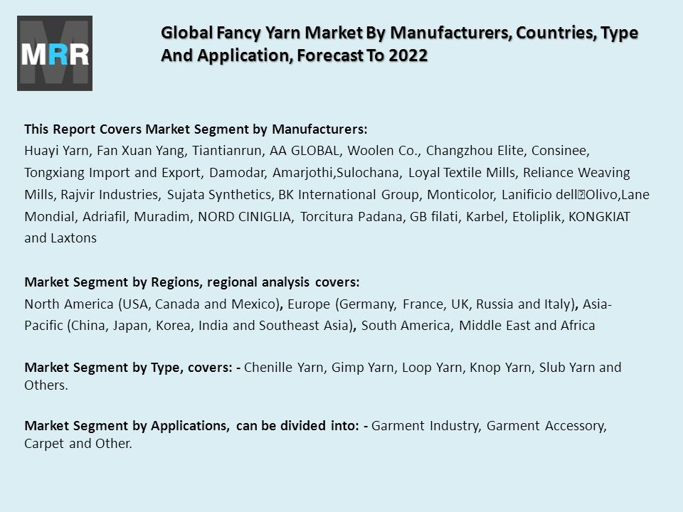Global Fancy Yarn Market By Manufacturers, Countries, Type And