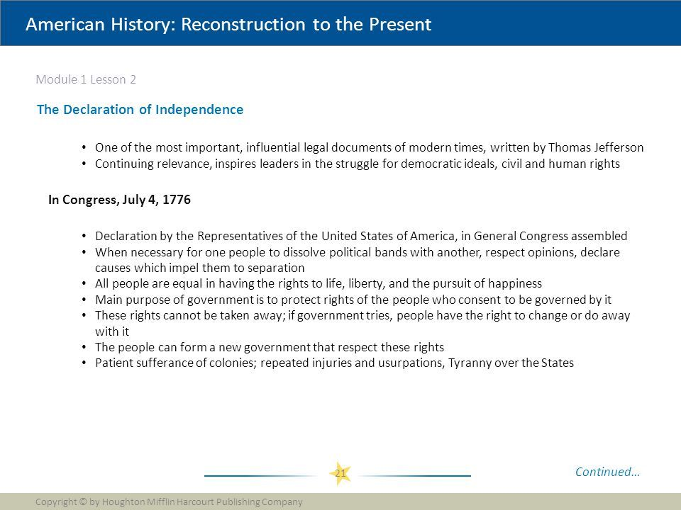 American History: Reconstruction to the Present Module 1